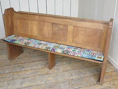 Antique Victorian Solid Oak Church Pew - Bench Settle Seating With Book Holder