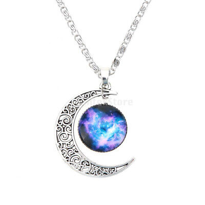 Charm Crescent Moon Glass Cabochon Pendant Necklace Jewelry Valentines Gift