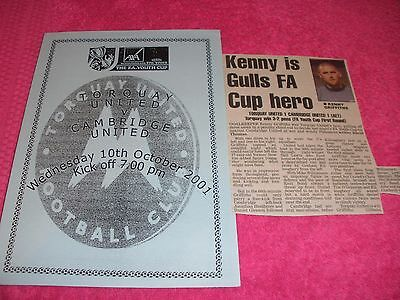 Torquay United v Cambridge United 10/10/01 FA Youth Cup1st Round +  Match Report
