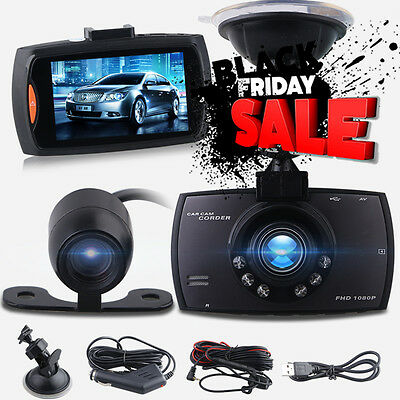 "2.7"" Car Dual Lens Cameras DVR 1080P Dash Cams Night Vision Recorder G-Sensor UK"