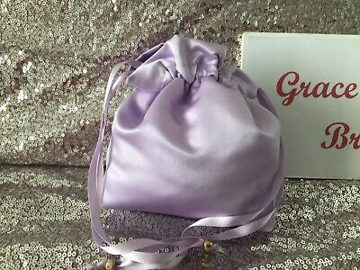 LILAC SATIN DOLLY BAG BRIDAL BRIDESMAID PROM FLOWER GIRL BNIP *free samples*