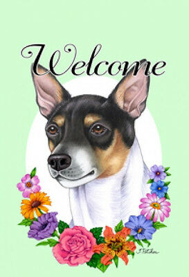 Large Indoor/Outdoor Welcome Flag (Flowers) - Rat Terrier 63130