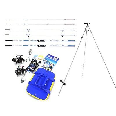 Two Rod Sea Beach Fishing Kit - Rods, Reels, Tripod, Hooks, Line & More - TSK222