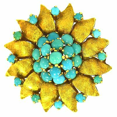 Estate Turquoise Brooch 18K Yellow Gold Fine Natural Vintage High Detail Finish
