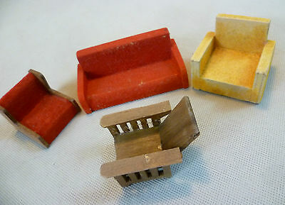 Vintage Dolls House Furniture - Small Mixed Lot Lounge Seating - Dol-Toi Etc