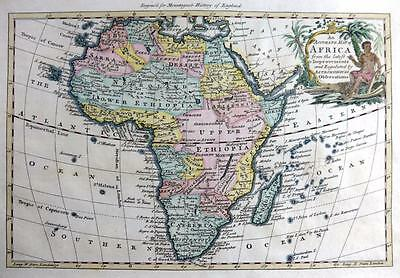 AFRICA  COPPER ENGRAVED MAP AFTER THOMAS BOWEN  GENUINE ANTIQUE  c1765