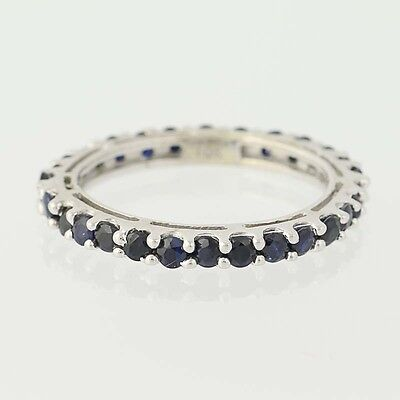 Sapphire Eternity Band - 10k White Gold Genuine 1.40ctw Size 5.5 Womens Ring