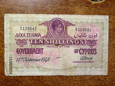 Government Of Cyprus Scarce 1948 Ten Shillings Currency