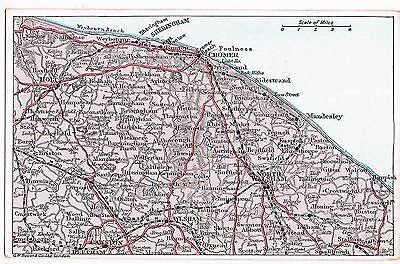 A MAP OF NORTH NORFOLK BY G.W. BACON'S GEOGRAPHICAL, c1910