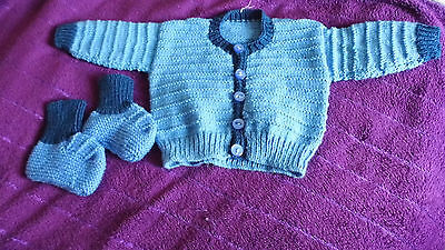 Hand knitted baby cardigan and bootees 3-6 months blue (no 19)