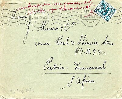 """Palestine-S.Africa 1925 Almost a FD Machine PM Proud M1 on cover, """"Zion Orphan"""""""