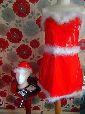 Quality Miss Santa 3 Piece Outfit Pvc Dress & Hat New Hold Up Stockings Size 12
