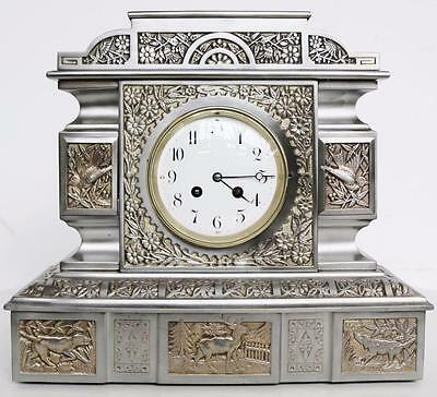 Rare Superb Antique 19thc French Embossed Cast Iron 8 Day Striking Mantel Clock