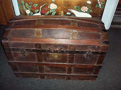 Antique Dome Top Trunk Travel Chest Blanket Box Storage