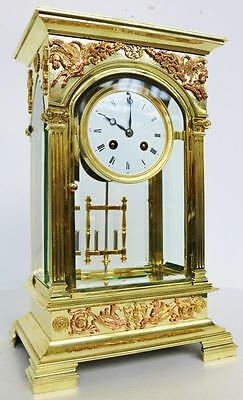 Rare Antique 19thC 8Day French Gothic Brass 4 Glass Table Regulator Mantel Clock