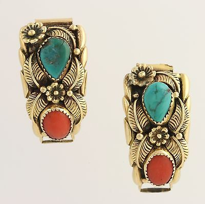 Native American Watch Band Tips Navajo  - 14k Yellow Gold Turquoise Coral