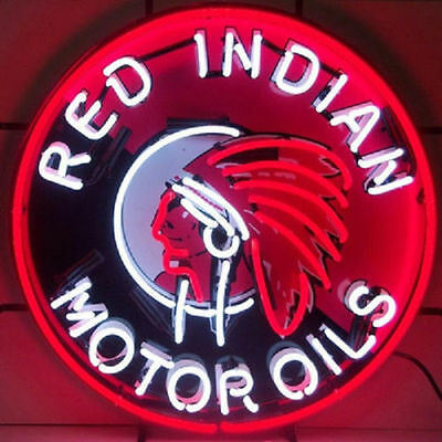 Red Indian Motor Oils Neon Sign with Silkscreen Backing - New