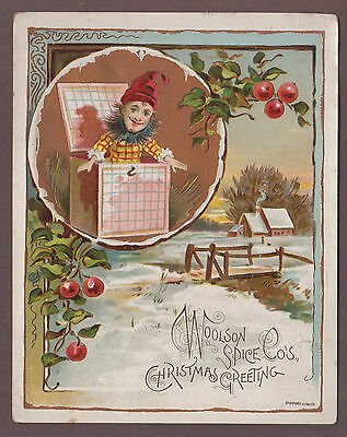Jack-In-The-Box Christmas Greeting Victorian Trade Card Lion Coffee Woolson