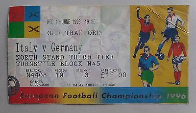 Vintage Euro 1996 Football Match Ticket. ITALY v GERMANY. Old Trafford