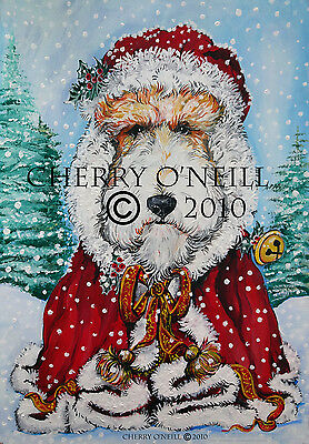 Wire Fox Terrier Santa Christmas Cards Set of 10 WFT Holiday Greetings