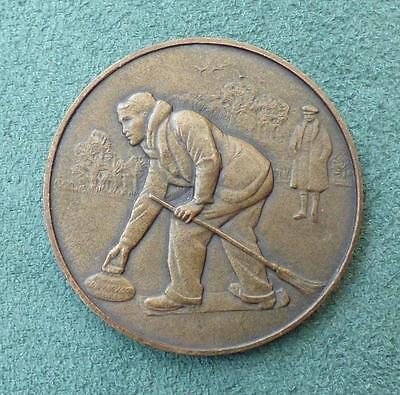 CURLING BRONZE MEDAL c.1920's - by PINCHES of LONDON, 38mm - Winter Sports