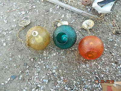 3  Vintage  green / blue amber   orange  Glass  Swag Light Ball Globe Light