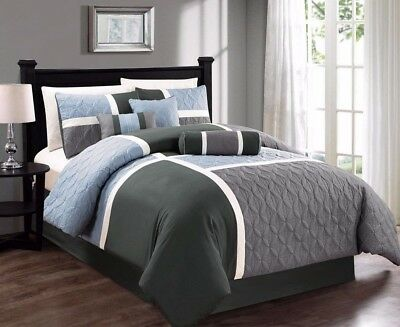 7pcs Medallion Quilted Patchwork Comforter Set King, Blue Charcoal Gray