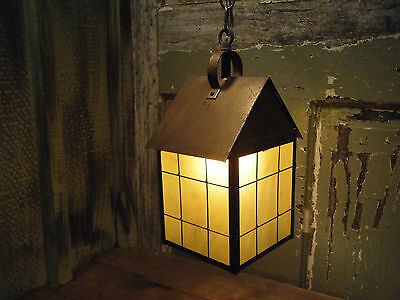 Light Fixture 18th century lantern Hanging Antique Patina Brass Period Vintage