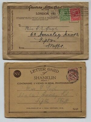 GB 1928 / 1938 GV Letter Cards of London & Shanklin, Mailed to Staffs