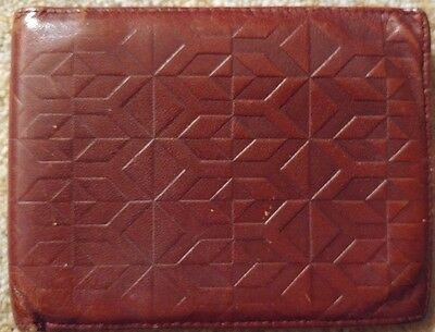 Vintage Yves Saint Laurent Brown Leather Mens Billfold Wallet Italy