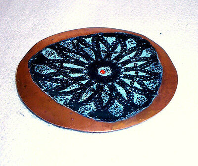 Retro Handmade Enamel on Copper Artisware Copper Ceramics English Dish