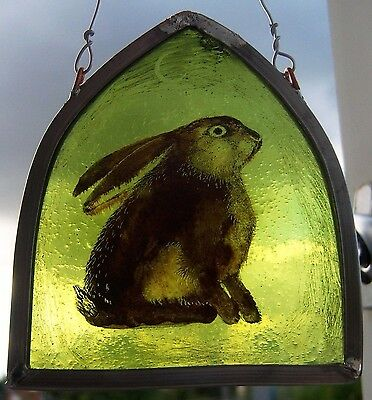 Hare Stained Glass Leaded Painted Panel Suncatcher OOAK