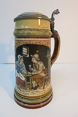 Mettlach Beer Stein Tankard 2807 Woman Two Men Talking Date 1903