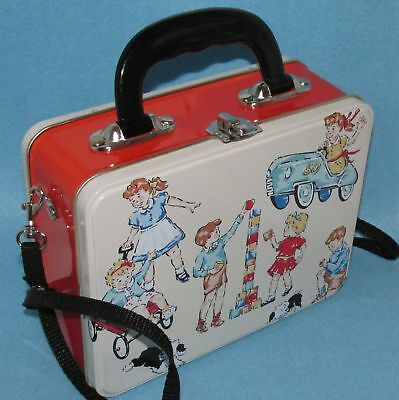 Retro Childs Red Book Figures Tin Metal Lunchbox Style Handbag Purse Storage New
