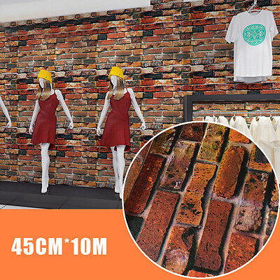 10M 3D Wallpaper Brick Self-adhesive Waterproof Wall Sticker Mural Art Decor#1