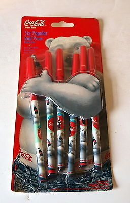 New Coca-Cola Polar Bear Package 6  Ink Pens Black Ink Dated 1996