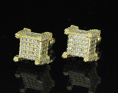 0fbce15f6 Mens Cubed 10mm Studs 14k Gold Plated Cz Hip Hop Iced Out Screw Back  Earrings