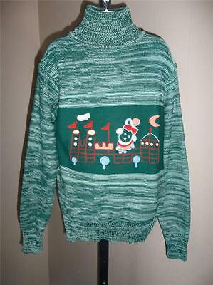 GIRL'S VTG 1970s GREEN SPACE DYED SWEATER COLORFUL SCENE ON FRONT SZ 14 NOS