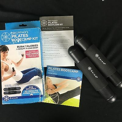 Mari Winsor's Pilates Bootcamp Kit Hand Weights & Sealed DVD Set Gaiam