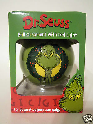 Dr. Seuss The Grinch Two Sided Ball Ornament with LED Light #17392 NEW