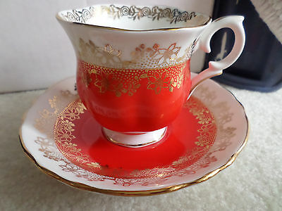 Crown Staffordshire Red With Gold Trim Cup & Saucer
