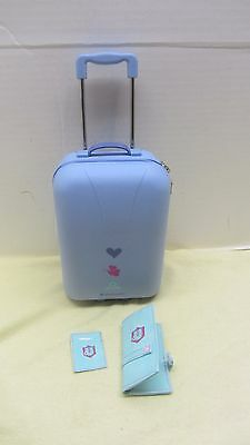 American Girl Doll  Rolling Suitcase Luggage With Passport Wallet