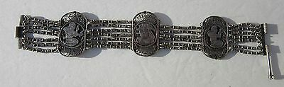 """Antique~Egyptian Revival~Silver~Wire Work~Bracelet~7.5""""~Lovely~1920's~Cleopatra"""