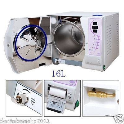 16L Dental Sterilizer Vacuum Steam For Autoclave & Lab Printing Data CE UK-HOT1