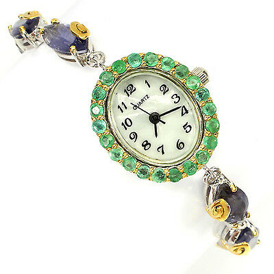 PRECIOUS NATURAL MQ 12x6mm IOLITE,EMERALD,DIAL MOP STERLING 925 SILVER WATCH 7.5