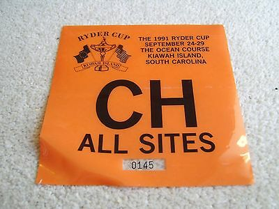 1991 Ryder Cup All Sites parking pass AS OWNED BY PLAYER STEVE RICHARDSON