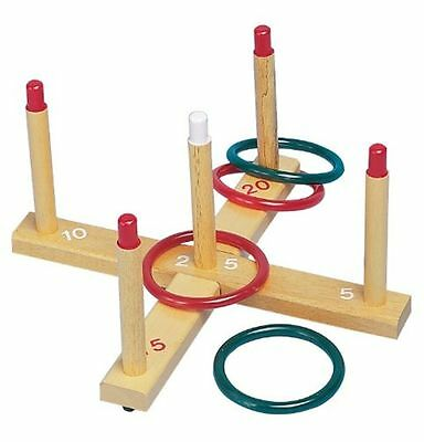 Champion Sports Wooden 5 Peg 4 Ring Toss Game Set For Kids Outdoor Camping Beach