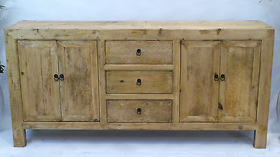 Three Drawer Two Cupboard Cabinet Dresser Reclaimed Antique Wood Farmhouse Table