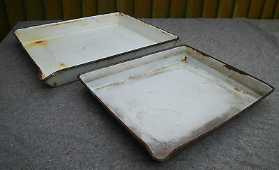 2 Large Rustic Chic Enamel Photographic Developing Tray~Great Bulb Planters/prop