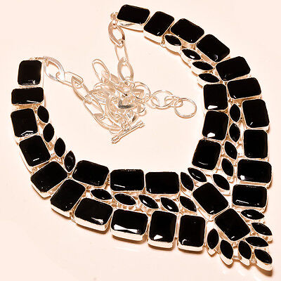 Designer Faceted Black Spinel  - 925 Silver Jewelry Necklace 18""